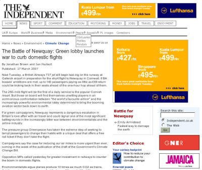 Article on preventing flights to Newqay, surrounded by adverts from Lufthansa for flights to Kolkata, Kuala Lumpur and Singapore, and a promotional on Jamaica