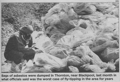 Fly-tipped asbestos in Thornton (from The Times, 17/08/06)
